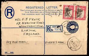 Aden 1950 KGVI Regsitered Envelope Cover Stationery ADEN Postmark(08)
