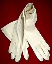 Vintage Long White Kid Leather Opera Gloves ~ Unlined