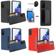 For Samsung Galaxy S20 FE - Hard Hybrid Credit Card ID Pocket Non-slip Case