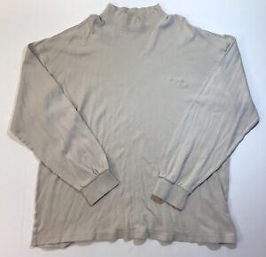 Columbia Men's Long Sleeve Mock Neck Shirt XL Cream Ivory Ski Outdoor Hiking