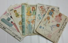 """Vtg Doll Dress Patterns McCall  Lot Of 6 with Knitting Patterns 11.5"""", 9"""" 20"""""""