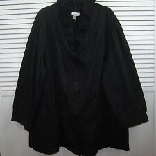 Harve Bernard Black Career 3/4 Sleeve Button Front Woman's Blouse Plus Size XL