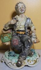 Vintage Capodimonte Porcelain Figurine Man Smoking Pipe  With Dog # 1443 12.5''