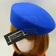 VINTAGE Wool Felt Women Pillbox Hat Ladies Cadet Military Plain Cloche | Blue