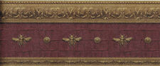 Architectural Napolonic Bee Wallpaper Border in Burgundy  LL081113B