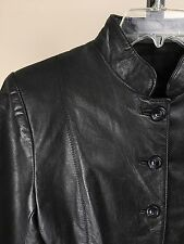 Oscar Leopold S Black 100% Cuir Leather Moto Jacket Canada Mandarin Collar