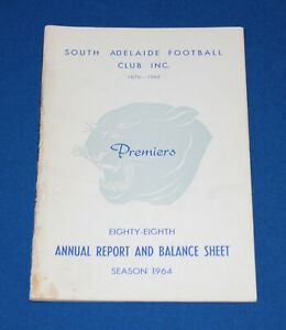 1964 South Adelaide Football Club Annual Report SANFL *Premiership Year*