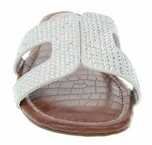 RAMPAGE Women's Ophelia H Band Sandals with Faux Crocodile, Silver, Size 8.0
