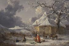 Framed George Morland Print - Winter Landscape (Picture Painting Art Artist)
