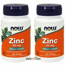 2 Bottles NOW FOODS Vegetarian Formula Zinc 50 mg 100 Tabs Made In USA FREE SHIP