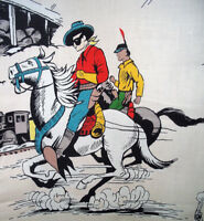 Vintage mid century Lone Ranger 1950's cotton fabric curtains drapes panels!!