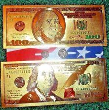Ancient Coins & Bills lot Two 24k Gold Foil $100 bills & 2 Mite Size Roman Coins