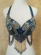 Professional Crystal Rhinestone Beaded Peacock Belly Dance Bra Top Turquoise O/S