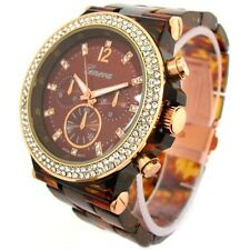 Tortoise Rose Gold Geneva Acrylic Crystal Women Bracelet Fashion Watch