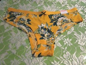 NWT Lane Bryant CACIQUE Orange and Navy Blue Floral Cheeky Panties Size 22 24 2X