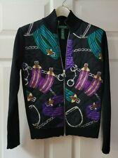 Lauren Ralph Lauren Full Zip Black Purple Equestrian Quilted Jacket Women's PL