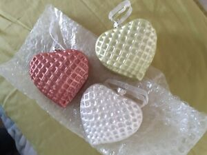 3 x Glass Coloured Heart Shaped Textured Baubles design Xmas Decorations