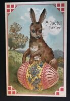 Cute~PFB Bunny Rabbit with Big Pink Egg & Flowers Antique~Easter Postcard~ b581