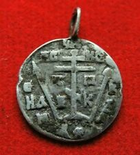 Ancient rare silver pendant with a cross  Middle Ages
