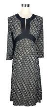 TIGHTROPE Dress - Geometric Swirl Circle Print Black Grey Tan Tie Back Belt - 12
