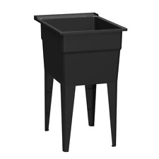 New listing Rugged Tub 18 in. x 24 in. Recycled Polypropylene Black Laundry Sink