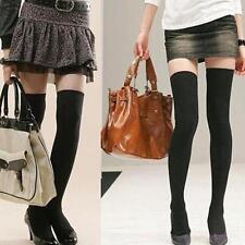 Women's Black Long Boot Socks Over Knee Thigh High School Girl Stocking