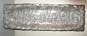 Arthur Court GIRAFFE Safari Long Rectangular Silver Aluminum Tray 18.5x6 MINT!