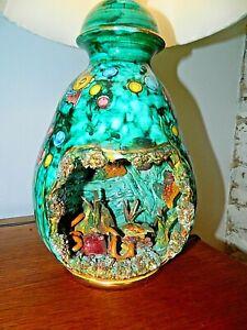 Large Italian Table Lamp Aquarium Style Ceramic Kitsch 50's 60's Fully Working