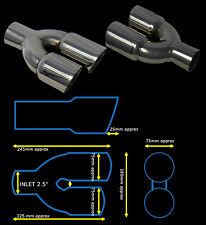 """UNIVERSAL STAINLESS STEEL EXHAUST TAILPIPE PAIR 2.5"""" IN YFX-0206-SP3–JGR"""