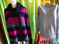 T4-5   lot 2pulls ,parme-noir et verdatre tricoté laine