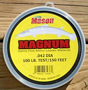 MASON MAGNUM BIG GAME CLEAR MONO LEADER MATERIAL 100 LB TEST