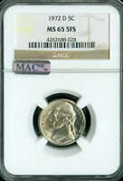 1972-D JEFFERSON NICKEL NGC MAC MS-65 FS 2ND FINEST GRADE POP-27 SPOTLESS GC .