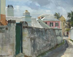Ogden Minton Pleissner Old Maids Lane Bermuda Canvas 16 x 20   #7022