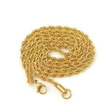 """Han Cholo Individual Rope Chain - 4mm Gold Stainless Steel  Necklace 30"""""""