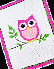 Crochet Patterns - PINK OWL - Baby Girl Afghan Pattern *EASY