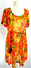 Baja Blue dress mesh cover up swim cover tropical floral print orange sundress M
