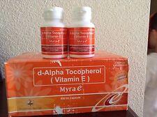 Myra-E-400-IU-Vitamin-E-d-Alpha-2 Bottles- 60-Capsules-Tocopherol-New