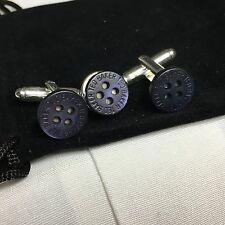 Para Hombre Ted Baker botón azul de medianoche Plata Plateado Gemelos Corbata Pin de Solapa + Bolsa
