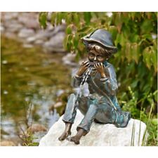 Boy til with Harmonica from Bronze Gargoyle Garden Ornament People RO-88588