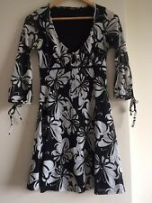 Jane Norman Dress Size 10 Black White Gypsy Boho Floral Print 60's