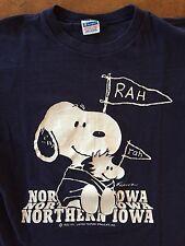 Vintage Snoopy Woodstock Peanuts Northern Iowa Rah Champion Blue Bar Usa Made