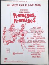 "1970 ""PROMISES, PROMISES"" THEATRE SHEET MUSIC ""I'LL NEVER FALL IN LOVE AGAIN"""