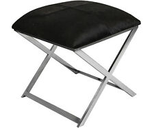 STAINLESS STEEL X LEG OTTOMAN SQUARE POUF SEAT STOOL IN BLACK HIDE SEAT 45 cm