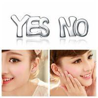 1Pair Funny Women Silver Plated Yes&No Letter Ear Stud Pierced Earrings Jewelry
