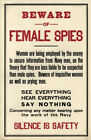 Beware of Female Spies Vintage World War Propaganda Poster 11x17