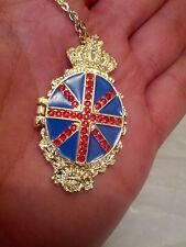 PENDANT vintage EMPTY Union Jack British United Kingdom Gold Fashion Jewellery