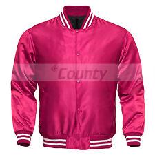 Varsity Baseball Letterman College Bomber Jacket Supreme Quality Hot Pink Satin