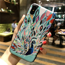 For iPhone 5s 6s 7 8 Plus X XS Max XR 3D Peacock Pattern Soft Rubber Case Cover