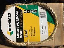 KINNEARS sisal jute rope 10mm x 20M 20 meters plant craft packaging eco friendly