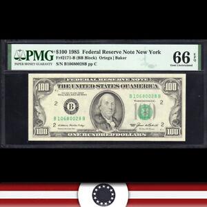 GEM 1985 $100 NEW YORK FRN PMG 66 EPQ Fr 2171-B  B10680028B